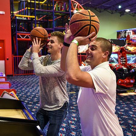 Boondocks - Two Men Shooting Arcade Hoops