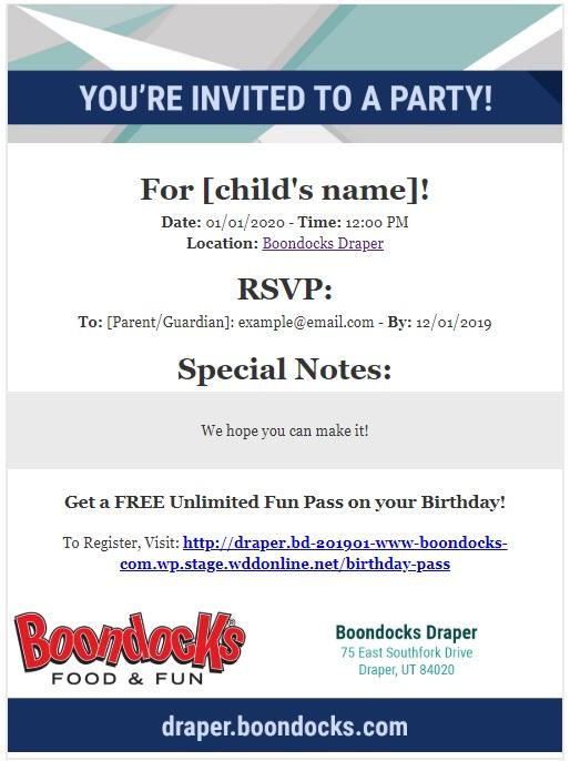 Boondocks - Email Birthday Invite